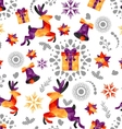 Christmas seamless pattern with deer bells etc vector image