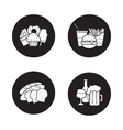 Food and drinks black icons set vector image