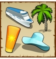 Four symbols of rest and travel in the summer vector image