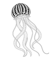 Hand drawn sea Jellyfish for adult coloring pages vector image