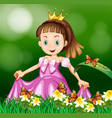 princess in the flower garden vector image