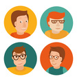 set of avatars in flat style vector image