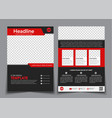 Template flyer black with red elements for vector image