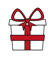 color silhouette image of gift box with red bow vector image