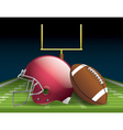 American Football and Helmet on Field vector image
