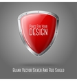 Blank red realistic glossy shield with silver vector image vector image