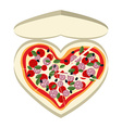 Pizza as a symbol of heart In a paper box vector image