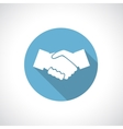 Hands shake icon with shadow vector image