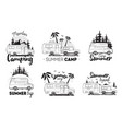 set of camping trailer logo camper vans against vector image