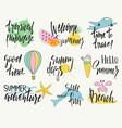 set of hand drawn summer labels logos and vector image