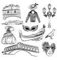 set of venice sketch vector image