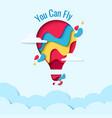 you can fly paper art hot air balloon concept vector image