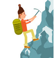 young male tourist with backpack climbing vector image