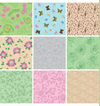 light seamless patterns with plants vector image