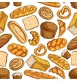 Bread pattern Bakery seamless sketch icons vector image