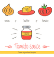 Colorful doodle hand drawn recipe of tomato sauce vector image