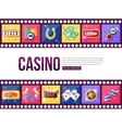 Film strips and set of colorful modern gambling vector image