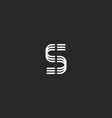 Letter S monogram logo mockup thin line design vector image