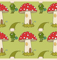 pattern with cute elves and a mushroom house vector image