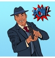 Pop Art Mafia Boss with Gun and Golden Tooth vector image