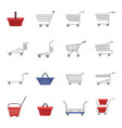 shopping cart icons set cartoon style vector image