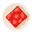 strawberry cake icon cartoon style vector image