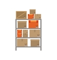 gray shelves with sealed package vector image