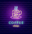 coffee shop neon logo vector image