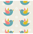 Fabric Background with cute birds vector image vector image