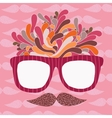 Cute cartoon doodle hipster glasses and mustache vector image