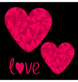 Two pink hearts Polygonal effect Love card vector image