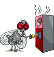 fly and vending machine cartoon vector image