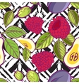 Tribal and Sweet berries seamless vector image