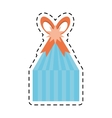 blue gift box stripes star ribbon line dotted vector image