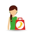 cartoon girl shopping banana fruit icon vector image