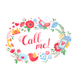 Elegant floral postcard with call me text vector image