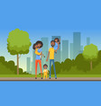 happy african family with many children on city vector image