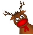 Reindeer peeking sideways on a white background vector image