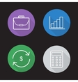 Stock exchange flat linear icons set vector image