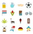 Netherlands icons set flat style vector image