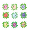 briar roses flowers bouquets isolated design vector image