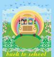 school bus with happy children vector image