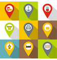 different pin icons set flat style vector image
