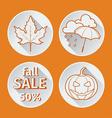 four orange icons fall flat vector image