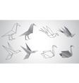 birds origami set vector image