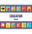 Film strips and set of flat school education icons vector image