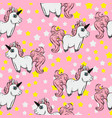 seamless pattern with unicorns and stars vector image