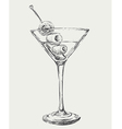Sketch Martini Cocktails with Olives vector image