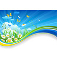 Summer banner with chamomiles and clouds vector image
