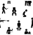 terrorism concept set of terrorist people terror vector image